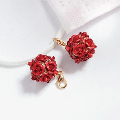 優雅玫瑰花朵口罩吊飾