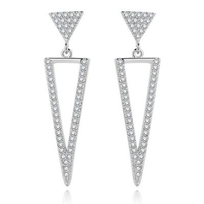 氣質簡約精緻三角形鑲鑽 無耳洞黏貼式耳環