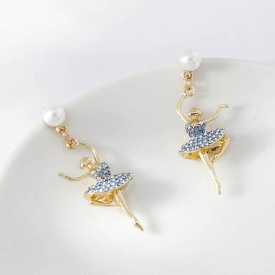 浪漫滿鑽芭蕾舞伶耳針/無耳洞黏貼式耳環