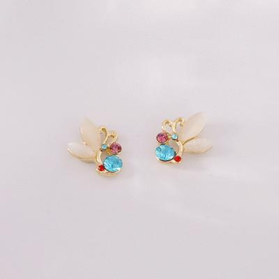 鑲鑽貓眼石蝴蝶 無耳洞黏貼式耳環