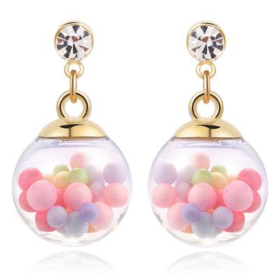 彩色泡泡透明玻璃球 無耳洞黏貼式耳環