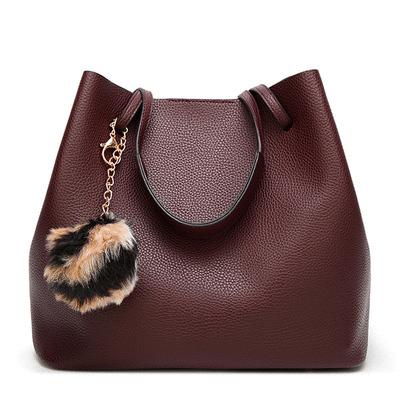純色荔枝紋毛球子母手提包