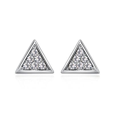 精緻立體三角 耳針/黏式耳環