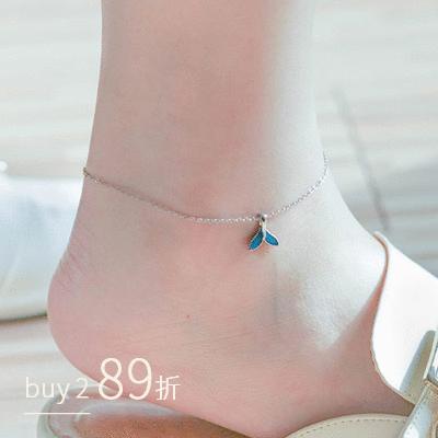 炫麗彩藍個性魚尾腳鍊[純銀]