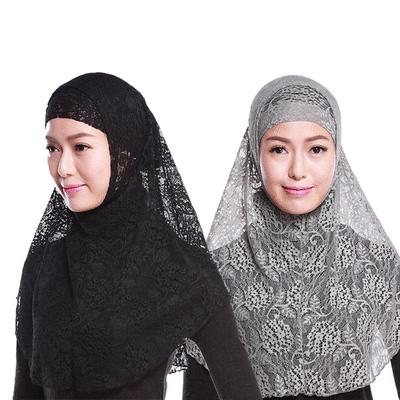 穆斯林簍空飄逸蕾絲兩件套頭頭巾