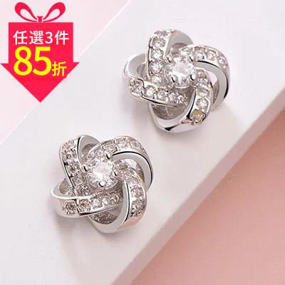 【專區3件★85折】韓版簡約交錯水鑽 黏式耳環