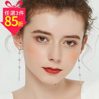 【專區3件★85折】氣質小花流蘇鑲鑽 耳針/黏式耳環