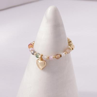 清新淡雅水晶珍珠彈性戒指