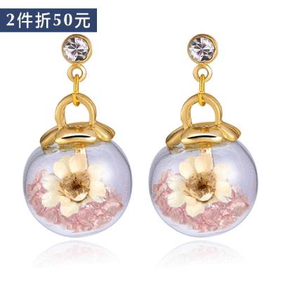 【2件折50元】彩色水晶透明玻璃球乾花 無耳洞黏貼式耳環