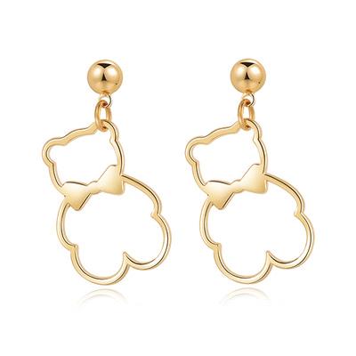 簍空金屬蝴蝶結小熊 黏式耳環