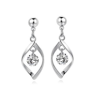 韓系簡約扭轉金屬鑲鑽 耳針/黏式耳環