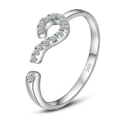 清新簡約鑲鑽問號開口戒指