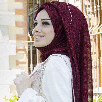 穆斯林純色金銀絲長頭巾