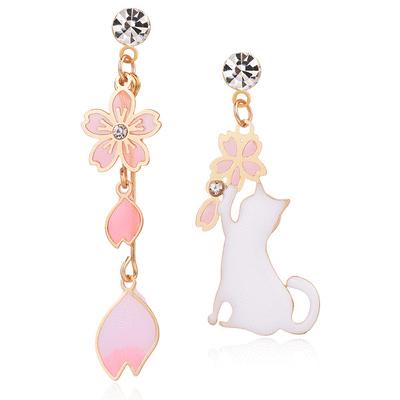 不對稱櫻花貓咪 耳針/無耳洞黏貼式耳環