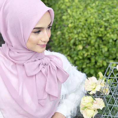 穆斯林絨雪紡純色蝴蝶結方巾