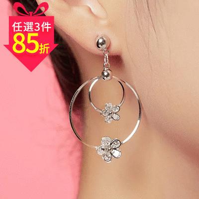 【專區3件★85折】經典時尚圓環花朵鑲鑽 耳針/黏式耳環