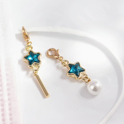深邃藍鑽五角星珍珠不對稱口罩吊飾