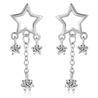 閃亮璀璨星星水滴鋯鑽 無耳洞黏貼式耳環