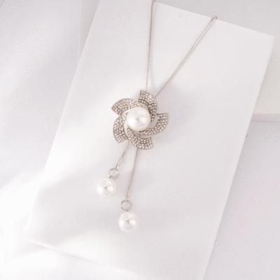 滿鑽花朵珍珠毛衣項鍊