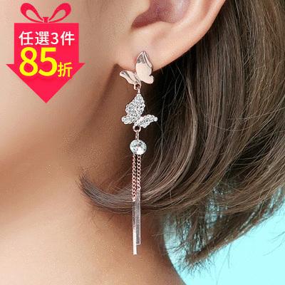 【專區3件★85折】清新優雅蝴蝶流蘇 耳針/黏式耳環