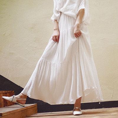 棉麻皺褶拼接大擺長裙