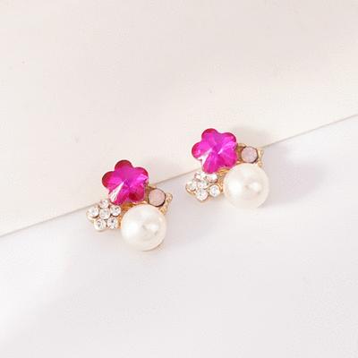 氣質梅花珍珠鑲鑽 無耳洞黏貼式耳環