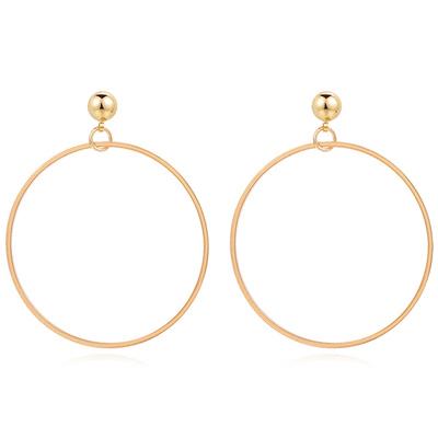 【專區3件85折】經典簡約金屬圓環 無耳洞黏貼式耳環
