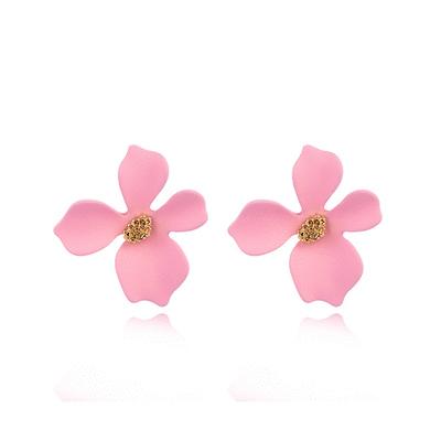 粉嫩少女心優雅花瓣 黏式耳環