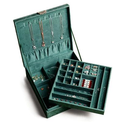麂皮木質雙層飾品收納盒