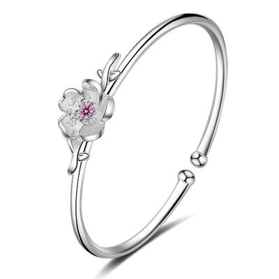 森林系女孩鑲鑽花朵手環