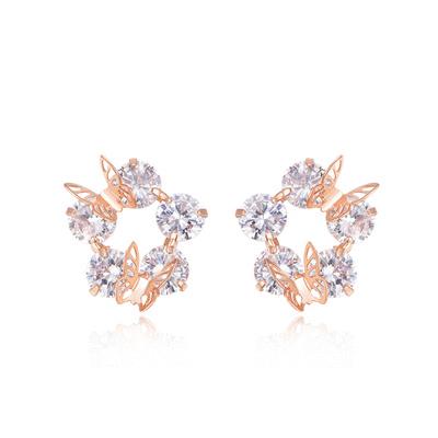 氣質立體雙蝴蝶鑲鑽黏式耳環