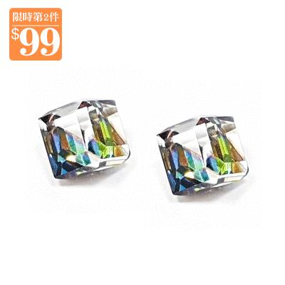 【第2件99元】極簡透亮立方水晶 無耳洞黏貼式耳環