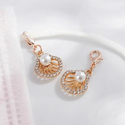 優雅貝殼鑲鑽珍珠口罩吊飾