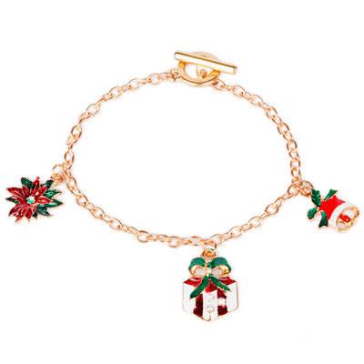 聖誕節限定-禮物鈴鐺造型吊飾手鍊