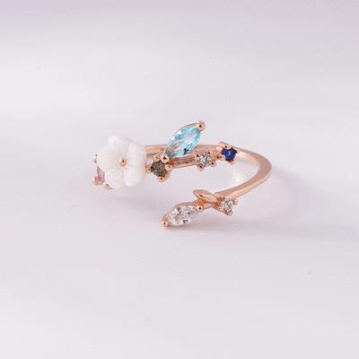 炫彩鑲鑽花朵嫩葉開口戒指