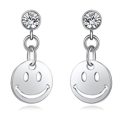 清新時尚可愛笑臉水鑽黏式耳環