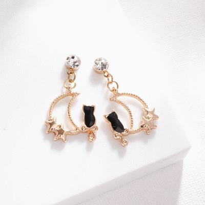 可愛星月黑貓 耳針/無耳洞黏貼式耳環