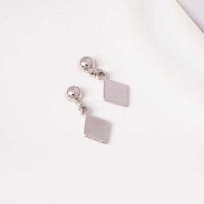 百搭簡約幾何菱形 耳針/ 無耳洞黏貼式耳環