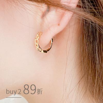 質感潮流鍊條小圓圈設計 耳針耳環[純銀]