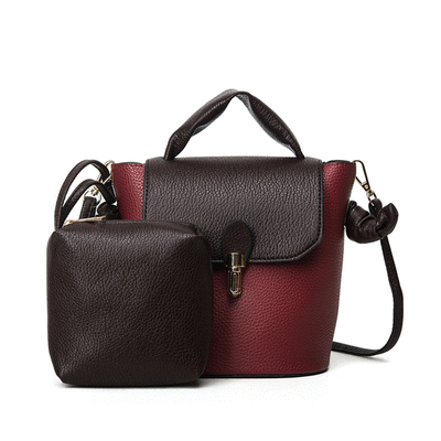 時尚簡約歐美風格子母水桶手提包