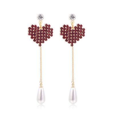 愛心珍珠流蘇鑲鑽 耳針/黏式耳環