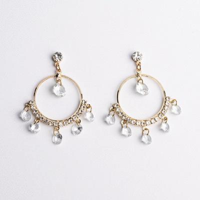 韓版氣質金屬圓環鑲鑽 耳針/無耳洞黏貼式耳環