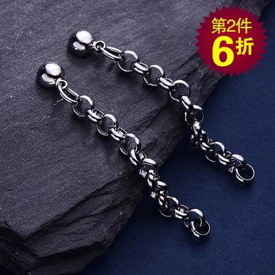 【第2件6折】韓版極簡圓珠鏈條 耳針/無耳洞黏貼式耳環