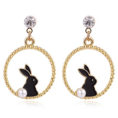 甜美可愛黑白小兔 無耳洞黏貼式耳環