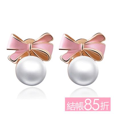 【結帳85折】甜美可愛蝴蝶結珍珠 耳針/無耳洞黏貼式耳環