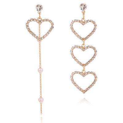 不對稱簍空愛心珍珠 耳針/無耳洞黏貼式耳環