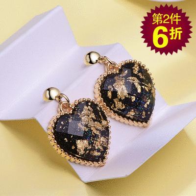 【第2件6折】奢華愛心鑲金 無耳洞黏貼式耳環