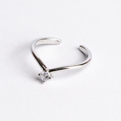 流線V形單鑽開口戒指(3mm)