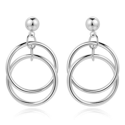簡約百搭多層圓環 耳針/無耳洞黏貼式耳環