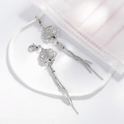 高雅復古簍空玫瑰流蘇口罩吊飾